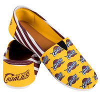 Cleveland Cavaliers Official NBA Womens Stripe Canvas Slip-on Shoes