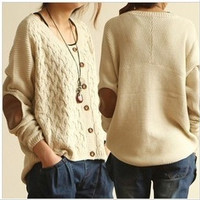 White Elbow Patch Long Sleeve Sweater