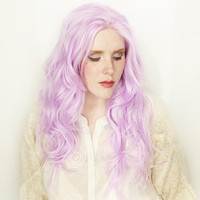 Pastel Purple Lace Front Wig | Spring Fashion | Long Purple Wig | Wavy Long Fairy Cosplay Straight Lace Front wig | Hyacinth
