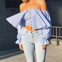 Ladies Tops Summer Sexy Ruffle Crop Top T-shirts Loudspeaker [125824335897]