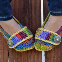 Crochet slippers, booties, shoes, socks with a button strap, colorful variegated tie dye spring collection in primary