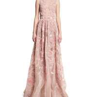 Elie Saab Sleeveless Embroidered Silk Gown, Opal