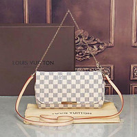 LV Louis Vuitton Women Shopping Leather Satchel Shoulder Bag Handbag