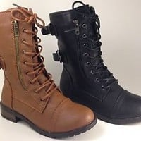 Combat Lace Up Military Womens New Boots Heel Zipper Mid Calf Shoes Black Brown