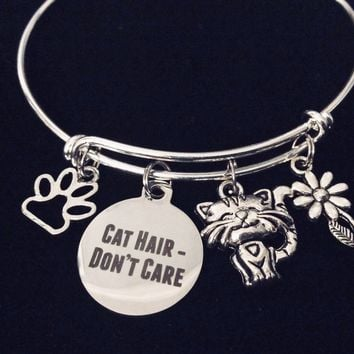 Cat Hair Don't Care Expandable Charm Bracelet Silver Adjustable Wire Bangle One Size Fits All Gift Paw Print