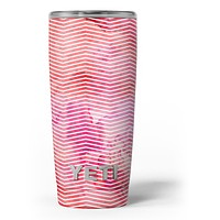 Pink Watercolor Over White Chevron - Skin Decal Vinyl Wrap Kit compatible with the Yeti Rambler Cooler Tumbler Cups