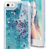iPhone 6 Case, iPhone 6S Case, Hundromi Luxury Bling Glitter Sparkle Hybrid Bumper Case with Liquid Infused with Glitter and Stars For Iphone 6/Iphone 6S - Blue