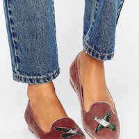 ASOS MERLOT Embroidered Loafer Flat Shoes at asos.com