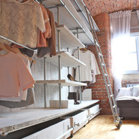 White Washed Reclaimed Scaffolding Boards and Galvanised Steel Pipe Industrial Open Wardrobe / Dressing Room Fixture System by Inspirit Deco