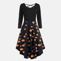 dress women Fashion Casaul Women Long Sleeve A-line Knee-Length Hollow Halloween Pumpkin Print Flare Dress Party Casual Dresses