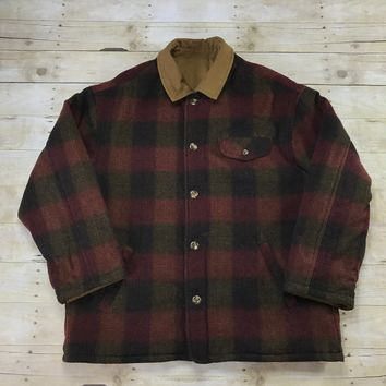 Vintage 90s Lands End Cotton Canvas Wool Reversible Plaid Chore Jacket Mens Size Large