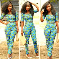 African Print Slim pants and Crop Top Set