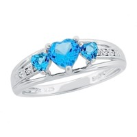 Blue Topaz Heart Sterling Silver Diamond Accent Birthstone Ring