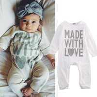 Cotton Newborn Kids Baby Girls Boy Romper Long Sleeve White Cute Playsuit Baby Boys Clothes Outfits Autumn