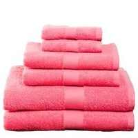 6 Piece Towel Set, Deep Pink