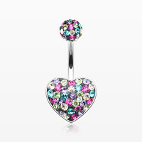 zzz-Brilliant Motley Multi-Gem Sparkle Heart Belly Button Ring