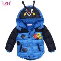 LZH Baby Boys Jacket 2017 Winter Jacket For Boys Bees Hooded Down Jacket Kids Warm Outerwear Children Clothes Infant Boys Coat