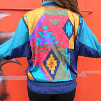 Vintage 80s 90s Windbreaker Jacket in Teal, Yellow, Red, Purple, Orange, Green AZTEC PRINT Scarf Fabric, Hip Hop Zip Up Bomber, Size S Small