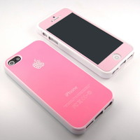 GNJ highest Pink Swarovski Gloss silicone case cover + Pink screen for iPhone 5