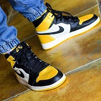 Air Jordan 1 Trending Men High Help Sport Shoes Sneakers(Black&White&Yellow)