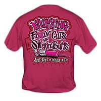 Sweet Thing Funny Nurse Fixin Cuts Neon Pink RN CNA LPN Girlie Bright T-Shirt