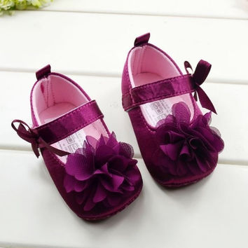 Toddler Kids Baby Girls Bowknot Flower Soft Bottom Shoes Baby Shoes 3 size = 1929663876