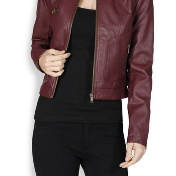 Casual Motorcycle Biker PU Faux Leather Bomber Jacket Coat with Zipper Detail