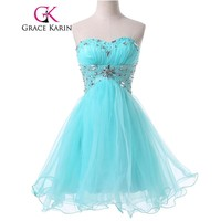 Grace Karin Pale Turquoise Prom Dresses Ball Gown Sexy Short Party Gowns Sweetheart Beading Birthday Special Occasion Dress 2017