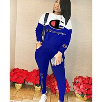 Champion New fashion letter print long sleeve top and pants two piece suit Blue