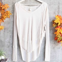 Free People - Catalina long-sleeve thermal top - Sand/Heather Oatmeal