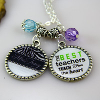 Best Teacher Necklace, Teachers Birthday Necklace Gifts, zebra-stripe Necklace, Chevron, DIY Name, Crystals ,Personalized Gifts