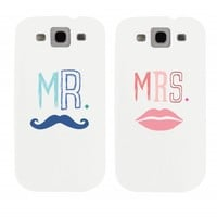 Mr Mustache and Mrs Lips Couples Matching Cell Phone Cases for iphone 4, iphone 5, iphone 5C, Galaxy S3, Galaxy S4, Galaxy S5