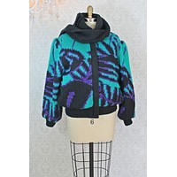 Vintage Abstract Knit Bomber Jacket