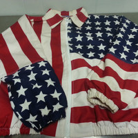Vintage 80's American Flag July 4th Jacket Size Large Made In USA Red White and Blue Retro Patriotic Fashion