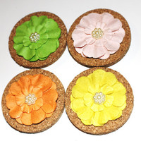 Decorative Green, Pink, Orange, and Yellow Flower Cork Magnets - 4 Pack!