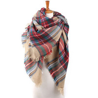 Best Seller Red and Green Blanket Scarf for Unisex