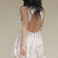 Unreal Beige Crochet Open Back Halter Dress