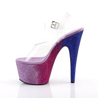 "Adore 708 Ombre Pink Blue Glitter Blend Effect Platform 7"" High Heel Shoe"