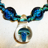 Blue Moon Swirl Handblown Mushroom Green and Blue Hemp Necklace with Lampwork Glass Beads and Pendant - Hemp Jewelry