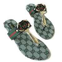 GUCCI Summer Fashion New Shining Diamond Letter Flat Slippers sandals