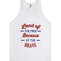 Land Of The Free-Unisex White Tank