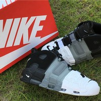 Nike Air More Uptempo Air Black Grey White Shoes US7-12