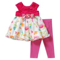 Sweet Heart Rose® 2-Piece Floral Dress and Legging Set in Fuchsia