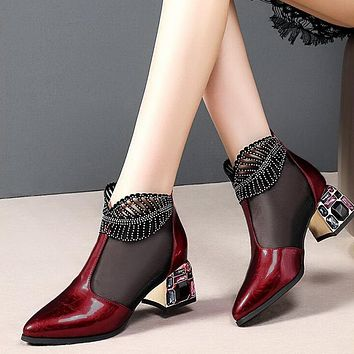 New Sexy Sandals Boots Women Mid Heels Ankle Boot Patent Leather Mesh Thick Heel Pointed Toe Shoes For Woman