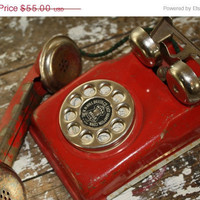 Red Metal Children's Phone Shabby Toy by VintageShoppingSpree
