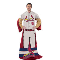 St. Louis Cardinals MLB Adult Uniform Comfy Throw Blanket w- Sleeves