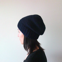 Hand Knitted Chunky Hat in Navy Blue - Slouch Seamless Hat - Winter Hat - Wool Blend