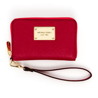 MICHAEL Michael Kors  iPhone Saffiano Leather Zip Wallet, Lacquer Pink or Black