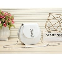 YSL Yves Saint Laurent Women Shopping Leather Crossbody Shoulder Bag Satche Whitel