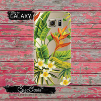 Green Tropical Leaves Pattern Floral Flowers Summer Inspired Tumblr Clear Galaxy S6 Case and Clear Galaxy S6 Edge Case Custom Samsung Case